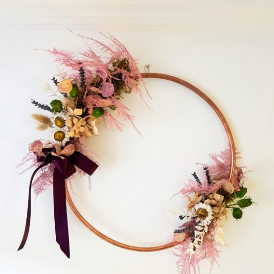 Handcrafted copper hoops using locally grown dried flowers Fochabers